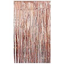 Tumao Rose Arany Fémes Tinsel függönyök, 2 részes fólia Fringe Shimmer függöny, születésnapi dekorációk Party Supplies Kit, születésnapi esküvő Photo Booth dekorációk.