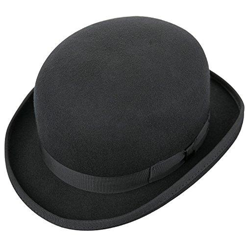 Seevoov Herren Derby Bowler Hats 100% Wollfilz Steif Wasserabweisend Fantastischer Hut für Kostümparty Schwarz Klein bis XL