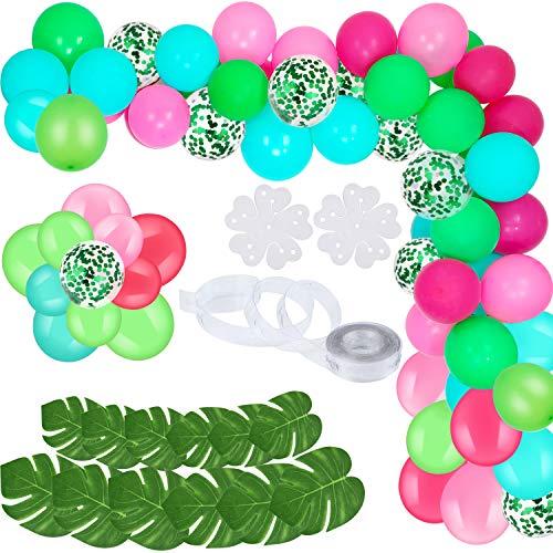 Gejoy 90 Stücke DIY Luftballons Girlande Blau Rosa Grün Konfetti Luftballons mit Bogen Streifen Werkzeuge und Tropischen Künstlichen Blättern für Sommer Themen Party - Streifen Flaches Blatt