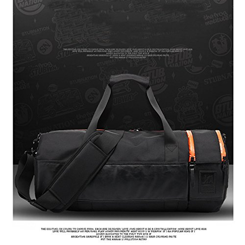 Amoyie Unisex Sporttasche Training Bag Herren und Damen Umhängetasche Duffel Fitness Gym Tasche Reisetasche Handtasche Fußballtasche Fitnesstasche mit Schuhenfach Schwarz mit Orange