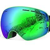 YAKAON Ski Goggles for Men and Women, Y1 Sphercial REVO Mirror Lens Anti-slip Strap Anti-fog UV Protection Detachable Lens & Strap