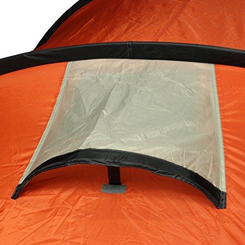 10T Mandiga 3 Orange - Tunnelzelt für 3 Personen, Campingzelt mit großer Schlafkabine, wasserdichtes Familienzelt mit 5000mm, Zelt mit 2 Eingängen und 2 Fenstern, Festivalzelt mit Dauerbelüftung, 3 Mann Zelt mit Tragetasche, Zeltheringe und Zeltgestänge - 23