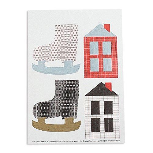 Papieranhänger Schlittschuhe & Häuser - 4er-Set