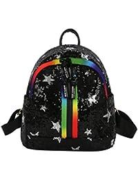 zarupeng Las mujeres de moda Glitter Bling mochila Pretty Star de impresión lentejuelas Travel Satchel