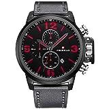 Männer Analog Quarz Uhren Lederband Multifunktions Wasserdichte Sport Armbanduhr mit Chronograph Datumsanzeige (Schwarz Rot)