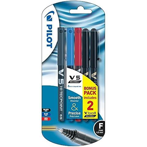 Pilot V5 - Penna a sfera ad inchiostro liquido, tratto da 0,5 mm, confezione da 5 pz, colore: nero/rosso/blu, 5