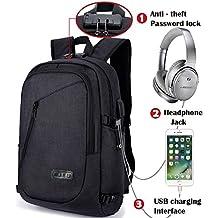 Mochilas Escolares Juveniles, Mochila Portátil de 15.6 pulgadas Backpack Impermeable con Puerto de Carga USB para Viajar, Escuela, de Negocios , Trabajo-- negro