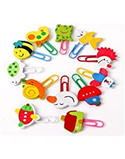 2-OYSS Colourful Animal Wooden Cute Paper Clips Bookmark Creative Supplies for School Home -Random Pack of 2 Contains 24 Pieces