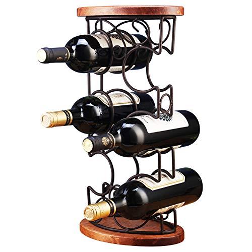 NIUBICLAS Weinregal, 3-Lagiges Weinregal, Personalisiertes Präsentationsregal Für Mehrere Flaschen, Hausdekorationsregal Aus Massivem Holz Im Europäischen Stil, Platz Für 6 Flaschen