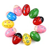 Kentop 1Stk Holz Egg Maracas Musik Percussion Baby Kinder Spielzeug Egg Shaker Zufällig Farbe und Muster 7× 4,5 cm