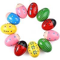 Leisial™ Juguetes de Huevos Juego Madera Aprender Juegos Educativos Juguetes Instrumentos Musicales para Niños Forma Huevo de Arena Coloreado 1PC