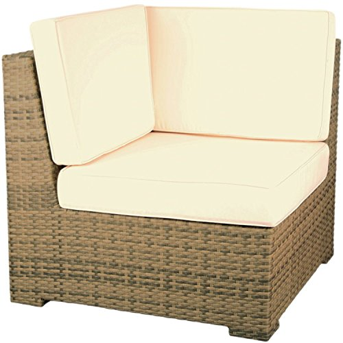 Konway & Nösinger Rattan Lounge Serie Rio Gartenmöbel Garten Sitzgruppe Sofa Garnitur elfenbein (Eckelement inkl. Kissen)