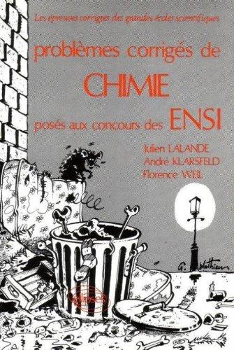 Problèmes corrigés, Chimie, ENSI 1978-1982