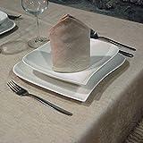 Elegante tovaglia rettangolarein jacquard di lino di alta qualità, digrandi dimensioni, Beige, 62 x 157' (160 x 400cm)