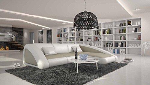 Eck-Sofa mit Kunstleder Bezug Creme/weiß L-Form 280x245 cm | Sanassi | Designer Polster-Ecke Recamiere rechts | Sofa-Garnitur für Wohnzimmer Creme/Weiss 280cm x 245cm