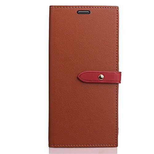 Business Style Mixed Farben Slim Design PU Ledertasche Brieftasche Stand Case [Shockproof] mit Niet Echtes Leder Gürtel & Kickstand & Card Slots für Huawei P8 Lite 2017 ( Color : Wine ) Brown