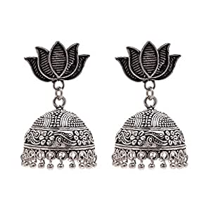 Earrings Handmade Silver Lotus Flower Traditional Two Tone Oxidised Silver Plated Jhumki Jhumka Jewellery For Women Shyam Handicraft