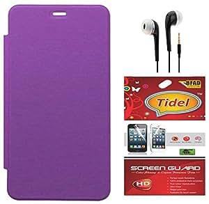 Tidel Purple Flip Cover For Motorola Moto E 2nd Generation With Tidel Screen Guard & 3.5mm Jack Handsfree Earphone