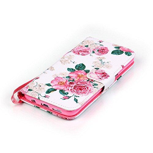 Nancen Apple iPhone 7 / 8 hülle, Flip Case Wallet Cover with Stand Function, Folio Bookstyle Handytasche Soft Silikon Bunte Muster Lederhülle Tasche PU Leder Slim Backcover Shell Handyhülle. Rose