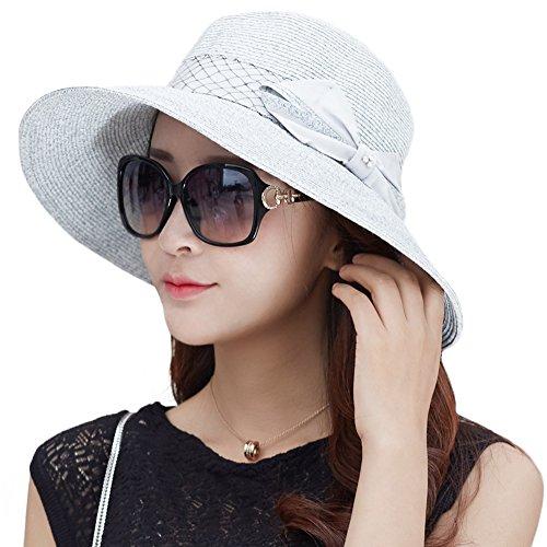 839563519dba7 Siggi Womens Floppy Summer Sun Beach Straw Hats UPF Packable Bucket Cloche  Hat 56-59cm LightBlue - Buy Online in UAE.