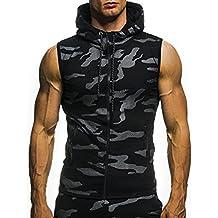 Zarupeng Camiseta sin Mangas con Capucha, Blusa sin Mangas y Estampado de Camuflaje Casual de