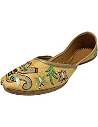 Step n Style Zapatos de Mujer Tradicional Handmade Kolhapuri Piel Mojari Chancleta, Color Marrón, Talla 36 2/3