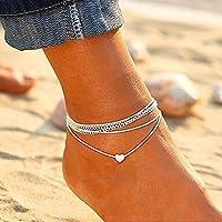 Simsly - Cavigliera a forma di cuore, in argento a strati, per donne e ragazze