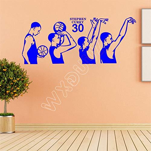 zhuziji Wxduuz Wandtattoos Basketbal Action Vinyl Wandtattoo Wohnkultur Wohnzimmer Schlafzimmer Kunst Tapete Wandaufkleber 888-3 58 x 141 cm