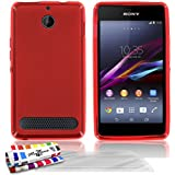 Muzzano Le Glossy - Funda para Sony Xperia E1, incluye 3 protecciones de pantalla, color rojo