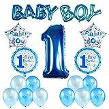 Kesoto Set di Palloncini per Primo Compleanno per Bambino Decorzaione per Compleanno di Neonato 7 Palloncini di Stagnola + 10 Palloncini di Latice, Blu