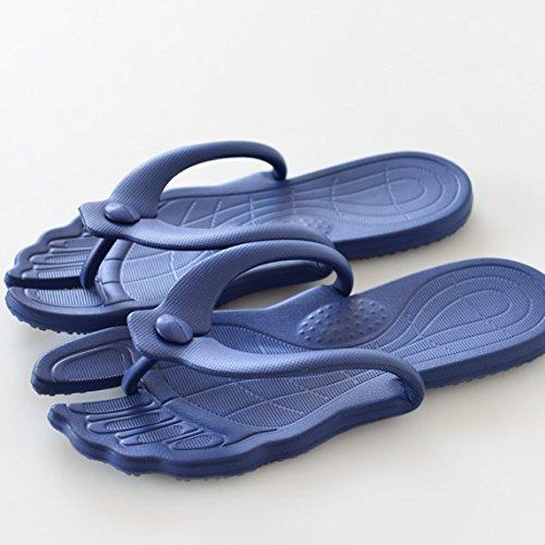 Confortable Pantoufles amovibles d'été Traverser les chaussons de bain antidérapants Les pantoufles à mots portatifs Les chaussures féminines de dames (2 couleurs en option) (taille facultative) Augme Bleu