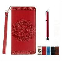 KSHOP Disegno rilievo PU Pelle Rosso modello fiore indiano mandala goffratura per Samsung Galaxy S6 Edge iphone cassa Case Cover caso Funzione di Sostegno Stand con la Copertura del Raccoglitore per la Carte Magnetico + tocco di metallo penna Rosso
