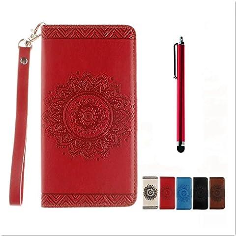 KSHOP Disegno rilievo PU Pelle Rosso modello fiore indiano mandala goffratura per Sony Xperia XA iphone cassa Case Cover caso Funzione di Sostegno Stand con la Copertura del Raccoglitore per la Carte Magnetico + tocco di metallo penna
