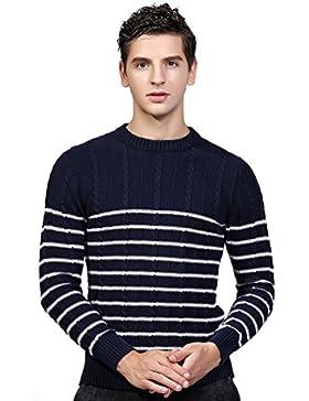 Jitong Uomo Caldo Maglia a Girocollo Slim Fit Stripe Maglione Maniche Lunghe Pullover a Sweater