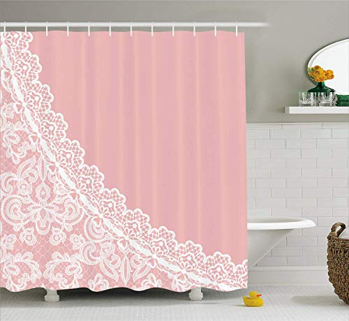 MLNHY Pink and White Shower Curtain, Lace Old Fashioned Border on Pink Color Wedding Theme Feminine Print,Fabric Bathroom Decor Set with Hooks, Pale Pink,Size:72W X 72L Inche Pink Double Old Fashioned