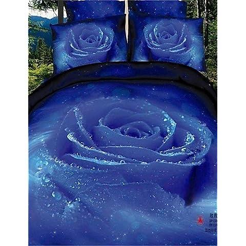 Trapunta in lino, Stargazer stampa 3D, motivo: Rose, colore: viola-Set di biancheria da letto in 100% cotone King Queen-lenzuola,