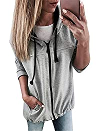 25260be631c2e7 Zolimx Felpe con Cappuccio Donna Tumblr Ragazza Eleganti Donna Grandi  Sweatshirt Cappotto Donna Zip Manica Lunga