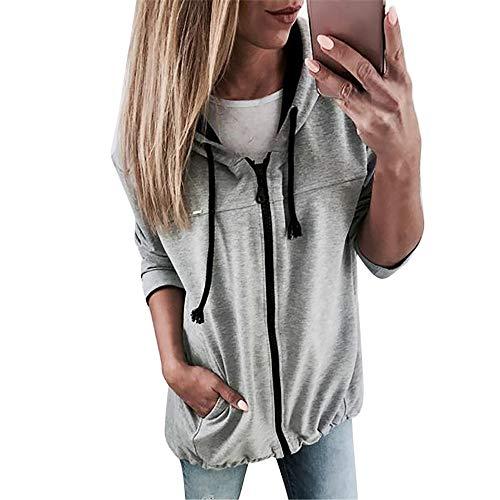 OSYARD Damen Voller Reißverschluss Kapuzenpullover Sweatshirts, Mode Frauen Reißverschluss Langarm Sweatshirt Outwear Kapuzenjacke Sport Mantel Outwear (M, Grau)