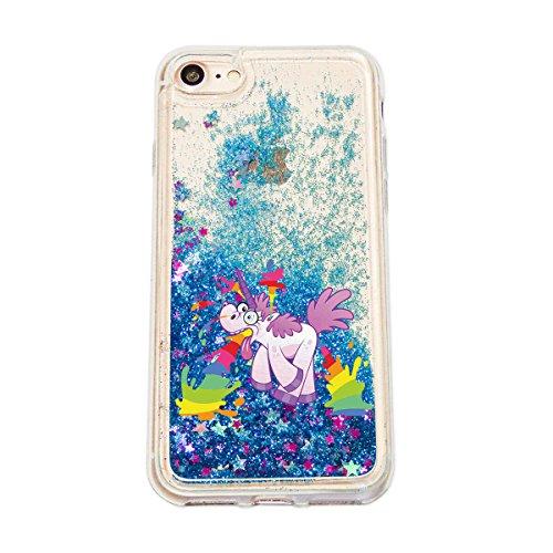 finoo | iPhone 7 Plus Flüssige Liquid Blaue Glitzer Bling Bling Handy-Hülle | Rundum Silikon Schutz-hülle + Muster | Weicher TPU Bumper Case Cover | Einhorn Einhorn überall