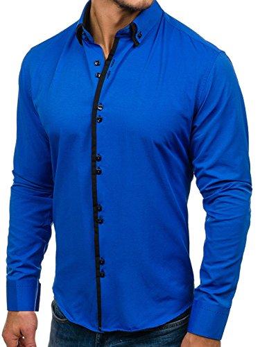 Bolf Herren Hemd Elegant Langarm Farbwahl Knopfleiste Casual Style 2B2 MIX  MittelblauSchwarz1721