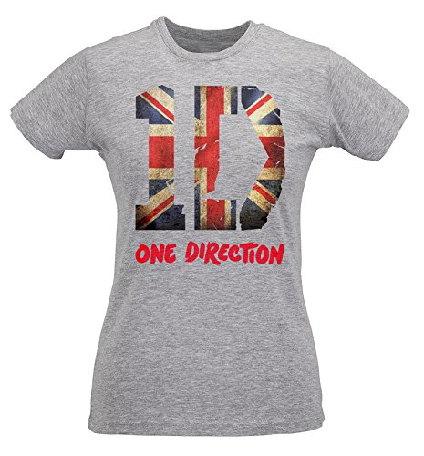 T-shirt Femme Slim One Direction Union Jack Artwork - Maglietta 100% coton ring spun LaMAGLIERIA, M, Grigio
