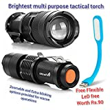 #5: Mini LED Torch 7W 2000LM CREE LED Flashlight Adjustable Focus Zoom flash Light Lamp By Praish and get Flexi led usb lights free