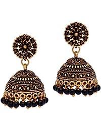 Jaipur Mart Jhumki Earrings for Women (Black)(GSE600)