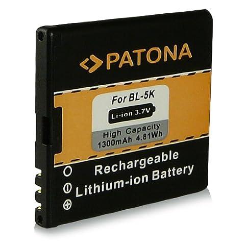 Akku / Batterie wie BL-5K | BL5K für Nokia 701 | C7 | C7-00 | N85 | N86-8MP | Oro | X7 | X7-00 und weitere… [ Li-ion, 1300mAh, 3.7V