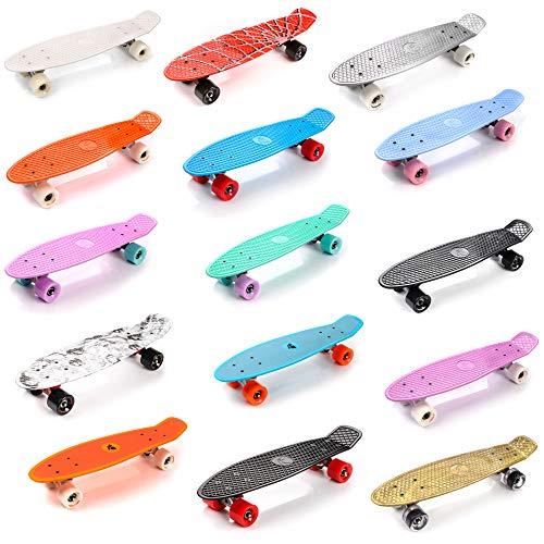 meteor Skateboard Kinder - Mini Cruiser Kickboard - Skateboard mädchen Rollen Board - Kunststoff Skateboards Deck - Retro Skateboard Jungen Mini Board - Skateboard Kinder ab 5 Jahre miniboard (Rosa)