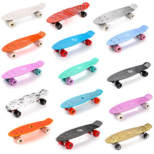 meteor Skateboard Kinder - Mini Cruiser Kickboard - Skateboard mädchen Rollen Board Kunststoff Skateboards Retro Skateboard Jungen Mini Board Skateboard Kinder Vintage miniboard (Rosa/Weiß) (Und Trucks Wheels Penny)