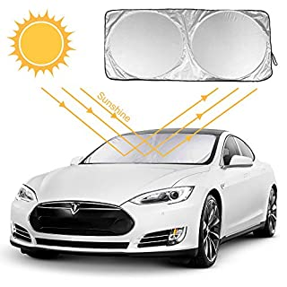 Aodoor Front Window Sunshades, Car Sun Shade Keeping Your Vehicle Cool UV Ray Protector Sunshade Universal size for SUV, Truck, 150cm X 69cm, sliver