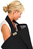 BebeChic * Top Quality 100% Cotton * Breastfeeding Covers * Boned Nursing Tops - with Storage Bag - black / white dot