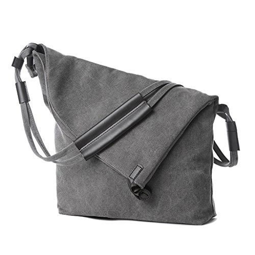Supa Moden Damen Canvas Schultertasche Hobo Taschen Handtasche Crossbody Schultertasche weekener-Tasche Grau