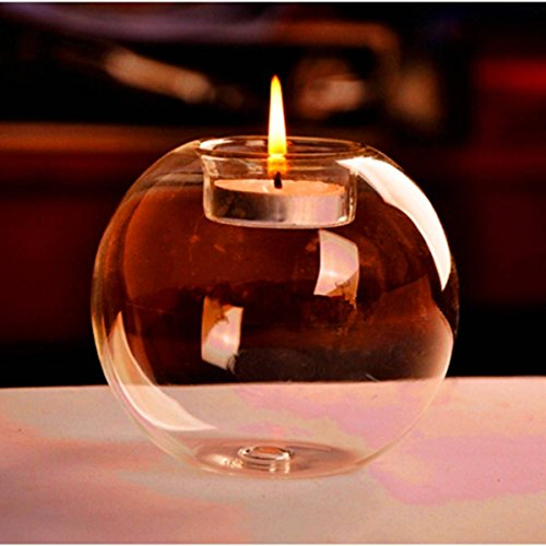 KING DO WAY Rond Verre Support Porte Bougie Bougeoir Décor Maison Cadeau Candle Holder